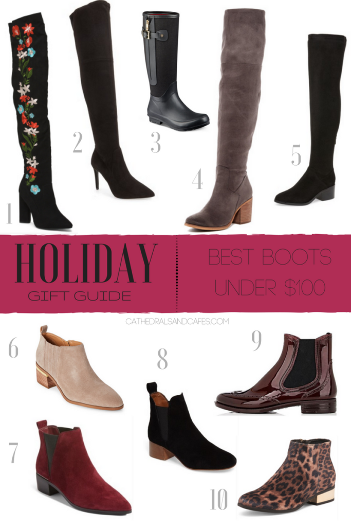 Holiday Gift Guide_ Best Boots under $100 _ Cathedrals and Cafes Blog _Shopping _ Christmas _ Gifts _ Gift Guide _ Over the knee boots _ booties
