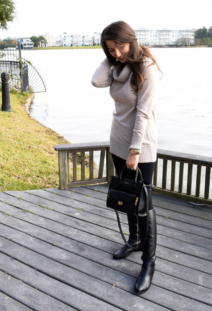 Erin from Cathedrals and Cafes blog sports the Rivington Convertible Mini Tote from Henri Bendel