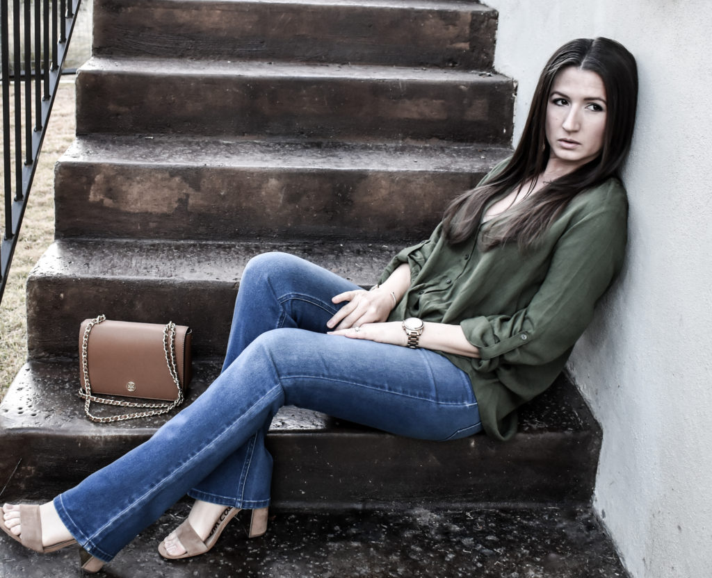 Erin from Cathedrals and Cafes models Casual Glamour in Diane Gilman DG2 Jeans