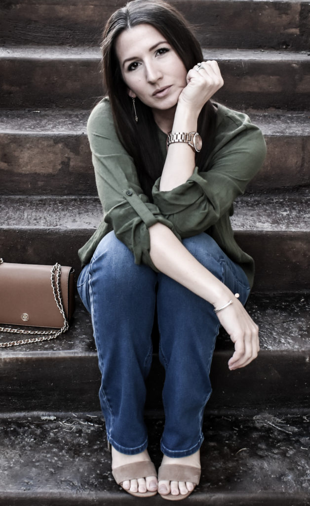 Erin from Cathedrals and Cafes sits comfortably in a pair of Diane Gilman DG2 Jeans from HSN