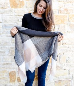 Erin from Cathedrals and Cafes blog demonstrates how to fold and style a blanket scarf