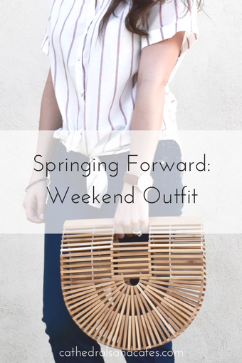 Springing Forward _ Spring Weekend Outfit _ Stripe Top _ Boyfriend Jeans _ Espadrilles _ Cult Gaia Dupe _ Bamboo Bag _ Cathedrals and Cafes Blog _ Spring Fashion
