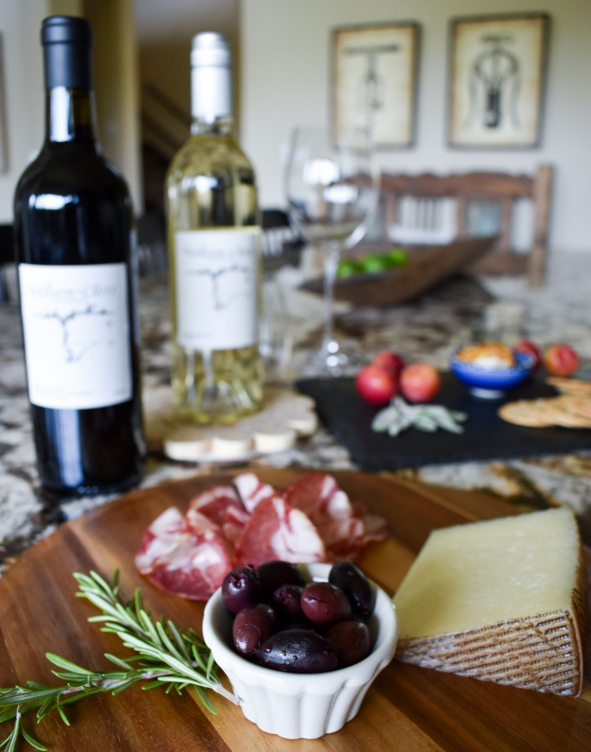 Charcuterie and cheese boards with William Chris Vineyards wines.
